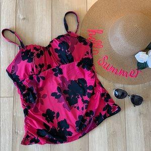 Lands' End pink black floral swimsuit